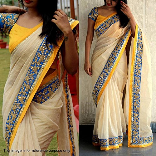 Beige color Embroidered less work Chanderi cotton saree with Yellow blouse piece