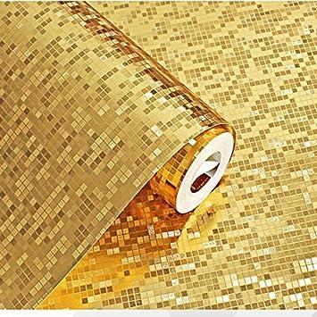 HEYUNu0026 Stereoskopische 3D Mosaik Tapeten Gold Silber Plaid Wasserdichte  Badezimmer Küchentheke Spalte KTV
