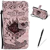 HUAWEI P8 Lite Case,Feeltech Elegant Premium Flip PU Leather Wallet Cover with Magnetic Closure Stand Function Protective [Free 2 in 1 Stylus] Credit Card Slots Holder and Money Pouch Vintage Retro Cartoon Pattern Design Flip Book Style Cover Case With Hand Strap for HUAWEI P8 Lite - Castle