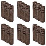 Meta-U- Strick Acrylfaser Möbel Socken - Stuhlbeinabdeckung - Bodenschutz - Mit rutschfesten Gummistreifen - Reduzieren Sie Geräusche und Kratzer - Tragbar und waschbar - Für Tisch | Stuhl | Kommode | Schrank – 24 Stk(Pfeilmuster-braun)