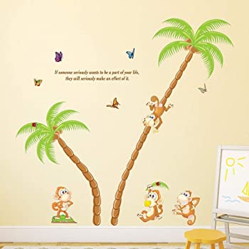 Solimo Wall Sticker for Kid's Room (Tree Full of Monkeys, Ideal Size on Wall - 136 cm x 130 cm)