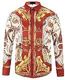 Pizoff Herren luxus palace Still fashion langärmliges Hemd Hip-Hop Tops mit Edelstein golden Halskette Tiger Druckmuster, Y1792-21, Gr. L