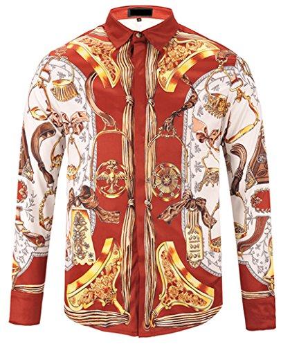 Pizoff Herren Luxus Langarm Hemden mit Baroque-Motiven,Y1792-21,Medium -