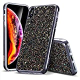 ESR Coque iPhone XS/X Noir, Coque Brillante Diamant Etoile Paillette Strass Bling...