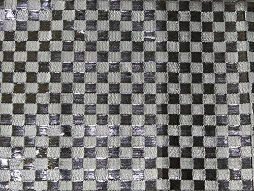 Checker Metallic Lamé Stoff, Meterware, silberfarben (Stoff Checker)