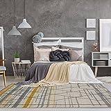 The Rug House Moderna Alfombra con diseño contemporáneo y Figuras de líneas abstractas y Diamantes Color Crema Gris Amarillo Ocre Mostaza 160cm x 230cm (5'3' x 7'7')