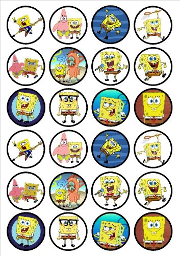 Image of Spongebob Squarepants Edible PREMIUM THICKNESS SWEETENED VANILLA,Wafer Rice Paper Cupcake Toppers/Decorations