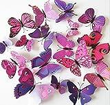 Cdet Aufkleber 3D Schmetterling Wandaufkleber Magnet Kleber Dekoratives Klebeband Notizbuch/Mauer /Keramikfliese /Glas/Küche/Geschenk/Auto/Galerie DIY Fensterbilder Fensterfolien,12 Stücke (Lila)