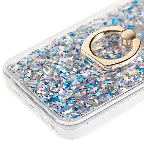 EMAXELERS iPhone 7 Hülle Gold,iPhone 7 Case Transparent Clear Glitzer Liquid Crystal Hülle,iPhone 7 Hard Hülle,iPhone 7 Hülle Rosa,iPhone 7 Hülle Bling 3D Kreative Liquid Case Etui für iPhone 7 4.7 Zo A Diamond Liquid 3