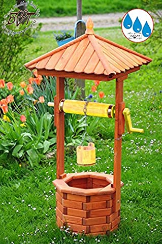 Beautiful Classical Baby Classic many colours wooden garden fountain Approx. 100–110cm EXP100GE OS with Roller and Bin Fully Functional Yellow Beautiful Detailed Metal Chain Garden Water Feature Outdoor Fountain with Bucket and Roll or Solar or Outdoor Light, Solar LED Strobe Light 1m Tall Light Brown Glaze Lacquered Orange, Roll Strips Yellow Body Bottom for Indoors and Outdoors, Made from High Quality Wonderful Garden