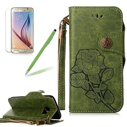 Girlyard Lederhülle für Samsung Galaxy S7 Wallet Flip Case, Elegant Blumen Retro Floral Muster Design Schutzhülle mit Lanyard Strap Handyhülle Standfunktion Karteneinschub und Magnetverschluß Etui -- Grün