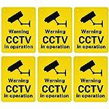 Austor, cartelli, targhette preforate con segnale 'Warning CCTV in operation', in plastica rigida, per uso esterno, 150x 200mm, confezione da 6