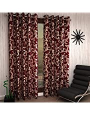 Home Sizzler 2 Piece Eyelet Polyester Long Door Curtain Set - 8 ft