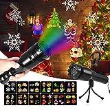 Urlaub Projektor Licht, mimoday Handheld Projektor, 12 Dias Dekorative Lichter FüR Halloween/Weihnachten/Birthday Party Lights,Wiederaufladbare Tragbare Taschenlampe Lampe Mit Stativ