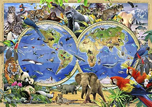 VLIES Fototapete-SELFIES WELTKARTE-368x254 cm-4 Bahnen-(12842V8)-Inkl. Kleister-EASYINSTALL-PREMIUM-Tiere Kids Animals Löwe Giraffe Affe Elefant Delfin Eisbär Tiger Pinguin Wolf Afrika Dschungel -