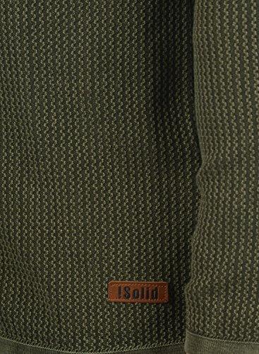SOLID Tebi Herren Strickjacke Cardigan Grobstrick mit V-Ausschnitt und Knopfleiste aus 100% Baumwolle Meliert Climb Ivy
