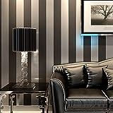 KeTian PVC-Tapete in moderner, minimalistischer Optik, vertikal gestreift, für Schlafzimmer oder Wohnzimmer. 0,53m x 10m = 5,3m², Schwarz / Grau, 0.53m (1.73' W) x 10m(32.8'L)=5.3m2 (57 sq.ft)