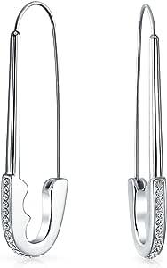 Grande cristallo simbolo supporto rifugiati Threader Sicurezza Pin Orecchini per donne nero placcato acciaio inossidabile