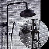 SAEJJ-Robinet de douche cuivre douche douche ensemble noir rétro - american style...