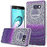 We Love Case TPU Coque pour Samsung Galaxy A510 / A5 2016 Silicone Étui Souple Housse de Protection Swag Coque Cristal Clair Strass Case Cas de Couverture Absorbant Chocs Anti Rayures - Gradient Violet Mandala