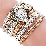 -Reloj para mujer de Sonnena, correa de metal y reloj analógico con pulsera de joyas, informal, ideal para fiestas, discotecas, regalo ideal para San Valentín, de acero inoxidable, beige, Bracelet