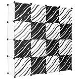 LANGRIA Stufenregal 16-Kubus Modular Lagerregal Kleiderschrank Garderobe mit Transluzenten Zebra Striped Türen Design für Kleidung, Schuhe, Spielzeug und Bücher