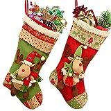 Calza di Natale, 18 'Renna di cartone animato di grandi dimensioni Fatta a mano in 3D regalo di Natale in peluche e sacchetto di caramelle per decorazioni natalizie Accessorio per feste, set di 2