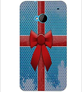 PrintDhaba Ribbon D-4855 Back Case Cover for HTC ONE M7 (Multi-Coloured)