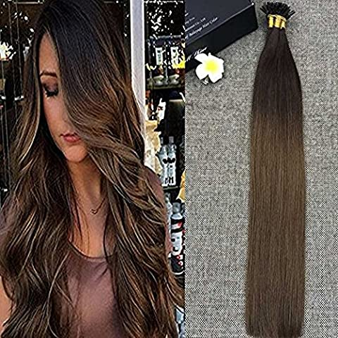 Full Shine 16 Zoll U Tipp Human Hair Extension Per Bonded Ombre Haar Verlängerungen Farbe # 3 Dark Brown zu # 6 Medium Brown 1g Pro Strang 50g Pro Paket