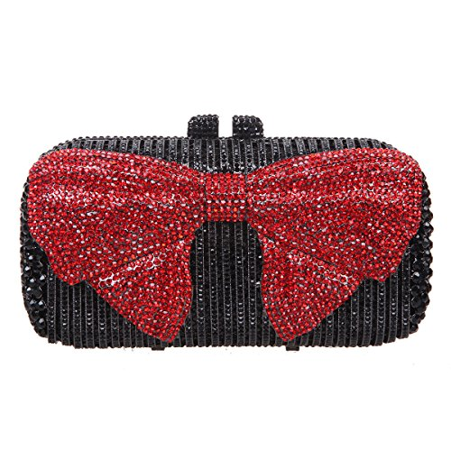 Bonjanvye Bow Crystal Clutch Purses for Women Evening Bags and Clutches-Red - Crystal Clutch Red