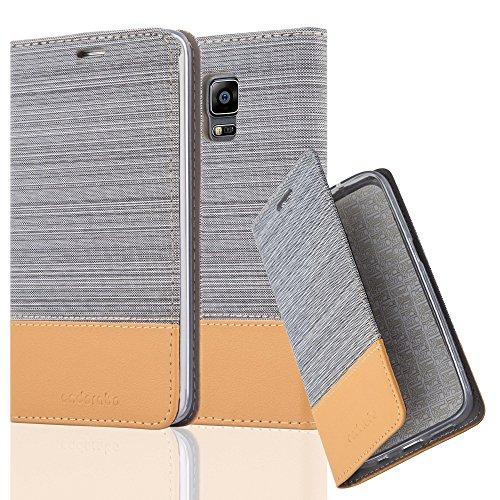 Cadorabo Funda Libro para Samsung Galaxy Note Edge en Gris Claro MARRÓN – Cubierta Proteccíon con Cierre Magnético, Tarjetero y Función de Suporte – Etui Case Cover Carcasa