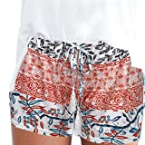 MOIKA Damen Hot Pants Sommer Shorts Hohe Taille Kurze Hosen Casual Hose Freizeithose Hosenrock Leichte in Viele Muster (S,Orange)