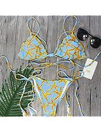 WXNLEAI 017 Europa y América eBay AliExpress correa cruzada bolsa triángulo azul sexy bikini atadura bikini