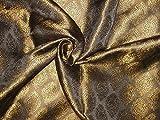 Seide Brokat Stoff Schwärzlich braun & gold