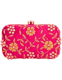 Tooba Handicraft Party Wear Hand Embroidered Box Clutch With Flower & Leaf Work By Zardosi And Stone On Elegant...