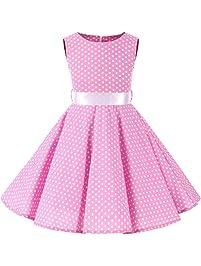 YFCH Vestido Vintage Retro 50s Estampado para Niñas Vestido de Lunares Clásico A-Línea con