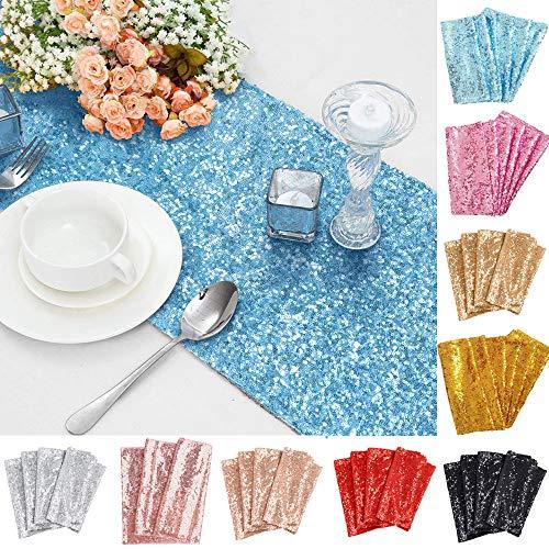 TtS 30cmx275cm (Baby Blue) Shimmer Glitzer Pailletten Tischläufer Pailletten Tischdecke Party Hochzeit Bankett Dekoration