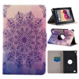 Kindle Fire HD 7 2015 Lederhülle, Asnlove PU Ledertasche Schutzhülle + Weich Hülle Stand Feature Flipcase Tasche Leather Case mit Standfunktion Tablet Etui mit Karte Slots für Amazon 7 Zoll 5th Generation Nur, Lila Mandala