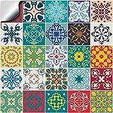 24 Pz Multicolore Adesivi per Piastrelle Formato 15 x 15 cm Cucina Adesivi per Piastrelle per Bagno adesivi - Coperture per piastrelle in vinile piatto stampato in 2D sottile (15x15, Mix di colori)