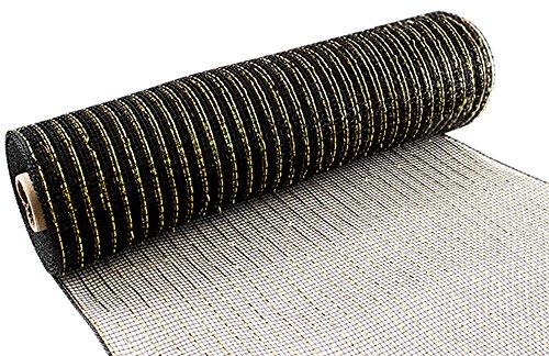 Eleganza schwarz/Gold metallic Deco Mesh, Mehrfarbig, 25cm x 9,1m Metallic-poly-mesh