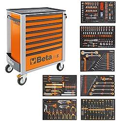 Beta Easy Chariot à outils avec 8tiroirs avec 384pièces Assortiment d'outils, 2400S-XL O8/E, 024002293, orange