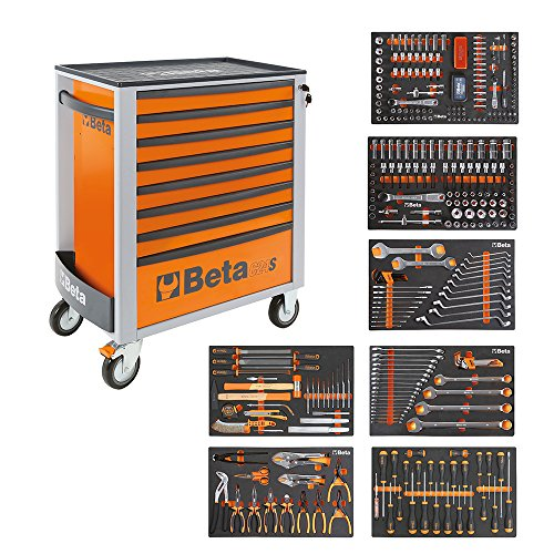Beta 2400s o8/e-xl carrello degli attrezzi con 8cassetti, assortimento di 384pezzi, codice 024002293, arancione