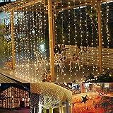 B-right Cortina de Luces, 306 LEDS Blanco Cálido, con Control Remoto, 8 Modos de Luces de Hadas de la Serie de Luces para Decoración de Ventanas, Patios, Fachadas, Entradas, Bares, Navidad, Día de San Valentín, Bodas, etc