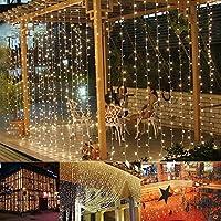 B-right Cortina de Luces, 3m*3m, 306 LEDS Blanco Cálido, 8 Modos de Luces de Hadas de la Serie de Luces para Decoración de Ventanas, Patios, Fachadas, Entradas, Bares, Navidad, Día de San Valentín, Bodas, etc