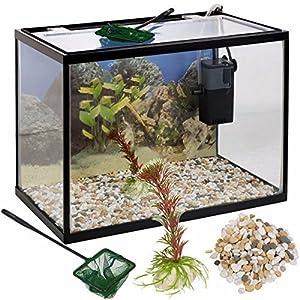 URBN Living 26 Litre Glass Aquarium Fish Tank Starter Set With Filter Pump Net Plant Stones