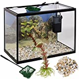 URBN Living 26 Liter Glas Aquarium Starter Set mit Filter Pumpe Netz Pflanze Steine