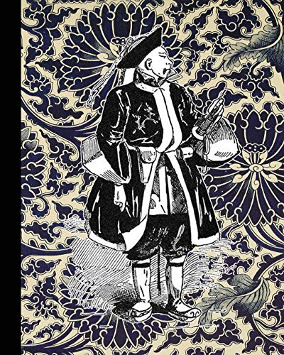 Vintage illustration journal: Unique designed dot grid journal for the vintage illustration lover - Japan - Japanese merchant on floral background Vintage Fine China