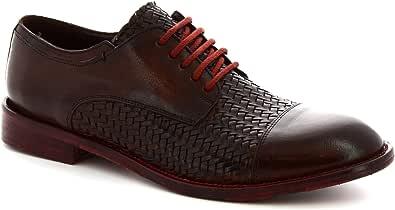 Leonardo Shoes Scarpe Stringate Derby Artigianali Uomo in Pelle Testa di Moro - Codice Modello: 6570/2 Candy Tuff Cuoio Scuro