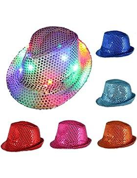 Luz intermitente LED unisex de Fedora Trilby lentejuelas fiesta de disfraces JAZZ HAT