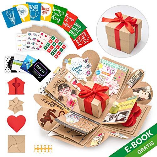 WONDER BOX Überraschungsbox - Kreative DIY Foto Geschenk Box - Explosionsbox Bilder Kiste - Das Besondere Geschenk für Valentinstag, Geburtstag, Hochzeit, Verlobung - Faltendes Fotoalbum -